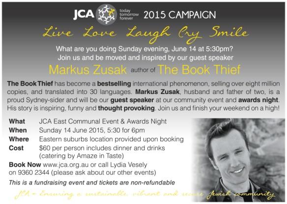 Markus Zusak JCA event