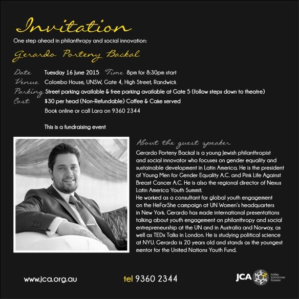 Gerardo Porteny Backal event invitation