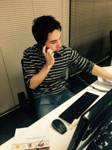 Liam O'Callaghan manning the phones during JCA's recent phone campaign.